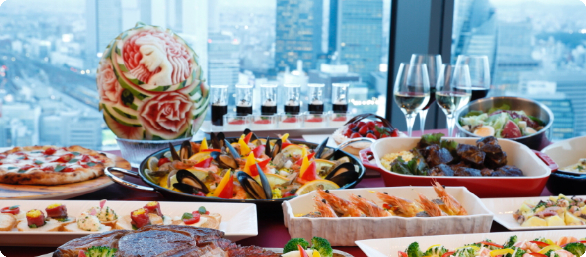名古屋プリンスホテル スカイタワー 「Sky Dining 天空」グラスワインをサービス(おひとり様につき1杯)